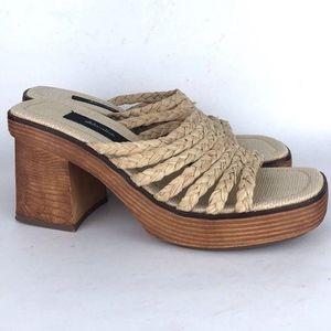 Vintage 90's Mossimo Raffia Chunky Heeled Sandals